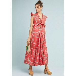 New Anthropologie Tulip Maxi Dress Size S Coral
